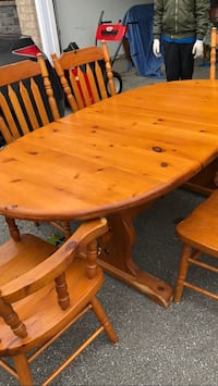 Kitchen table real pine wood thick some scratches on the legs 2 leaves 6 chairs it's been a great table in our family  Hamilton, L9C 0A8
