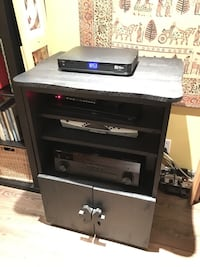 Black wooden cabinet for electronic equipment unit with 2 doors Montréal, H2G
