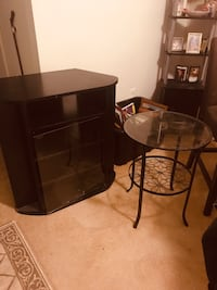 Entertainment (4 wide shelves) great condition and free a small table