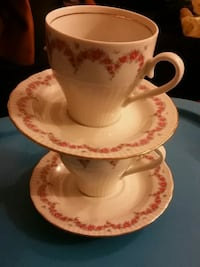white and pink floral ceramic teacup with saucer London, N6E 2M5