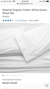Crate and Barrel White Organic Cotton Sheets