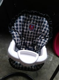 baby's blue and white floor chair