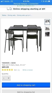 rectangular black wooden table with four chairs dining set screenshot Gaithersburg, 20879