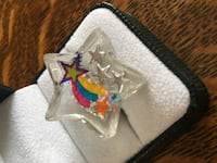 Resin cast adjustable Star and Rainbow ring. Raleigh, 27612