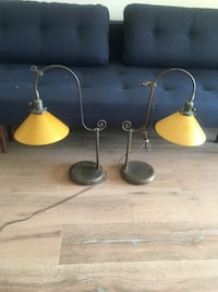 Pair of Antique glass desk lamps
