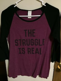 red and black The Struggle is Real printed raglan long-sleeved shirt Patrick Springs, 24133
