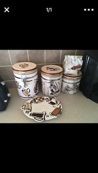Coffee cafe themed kitchen canister set with spoon plate Cypress, 77429