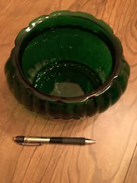 green glass translucent bowl