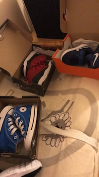 They are all like new. My almost 2yr doesn't fit in them. Converse size 4 jordans size 4 and the Nike's size 2. Amsterdam, 12010