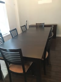 rectangular brown wooden table with six chairs dining set Laval, H7H 3E2