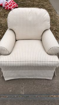 white and gray striped fabric sofa chair Parker, 80134