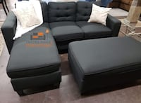 Brand new black linen sectional sofa couch with ottoman Silver Spring, 20902