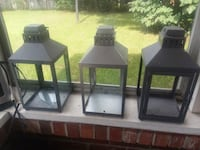 three black wooden framed glass candle holders Johns Island