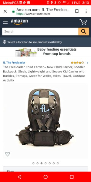 Great for Walks Travel Sleek New Child Carrier Stirrups The Freeloader Child Carrier Toddler Backpack Lightweight and Secure Kid Carrier with Buckles Outdoor Activity Hikes