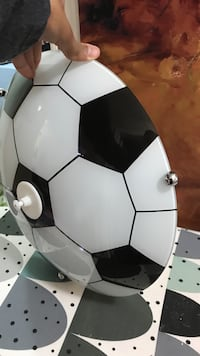 white and black soccerball dome lamp 543 km
