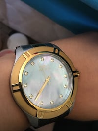 round gold-colored analog watch with link bracelet Lancaster, 93535