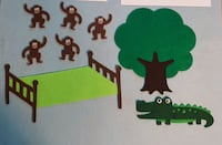 NEW - 5 Little Monkeys Jumping on the Bed / Swinging in a Tree Felt Set