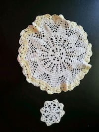 white and yellow knitted doily Edmonton, T5K 1N8