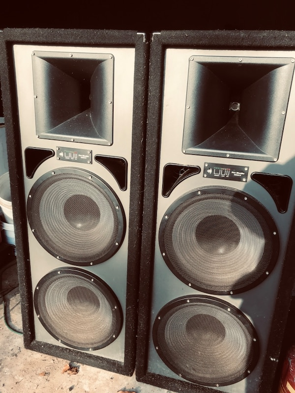 Two black-and-gray speakers