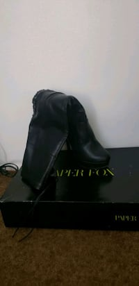 Over the knee, black leather heels boots size 8