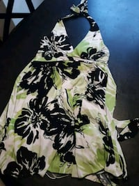 white, green, and black floral spaghetti strap dress Omaha, 68107