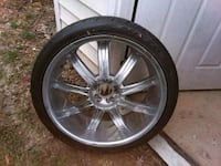 chrome 5-spoke car wheel with tire Capitol Heights, 20743