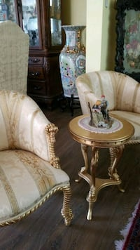 brown wooden framed white padded armchair Montreal, H3R 3L4
