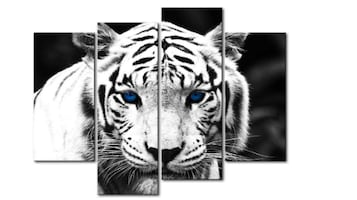 Black & White 4 Panel Wall Art Painting Blue Eyed Tiger Prints On Canv