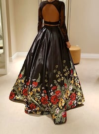 black and red floral Sherri hill dress