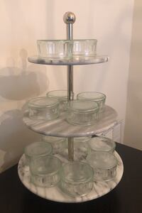 Marble three tiered silver cake stand - like new Silver Spring, 20902