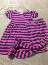 Toddler's pink and blue stripe dress and pant set Ringgold, 30736