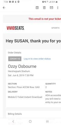 Ozzy marilyn tickets for 6/6 at Hershey.Rescheduled show from lastyear
