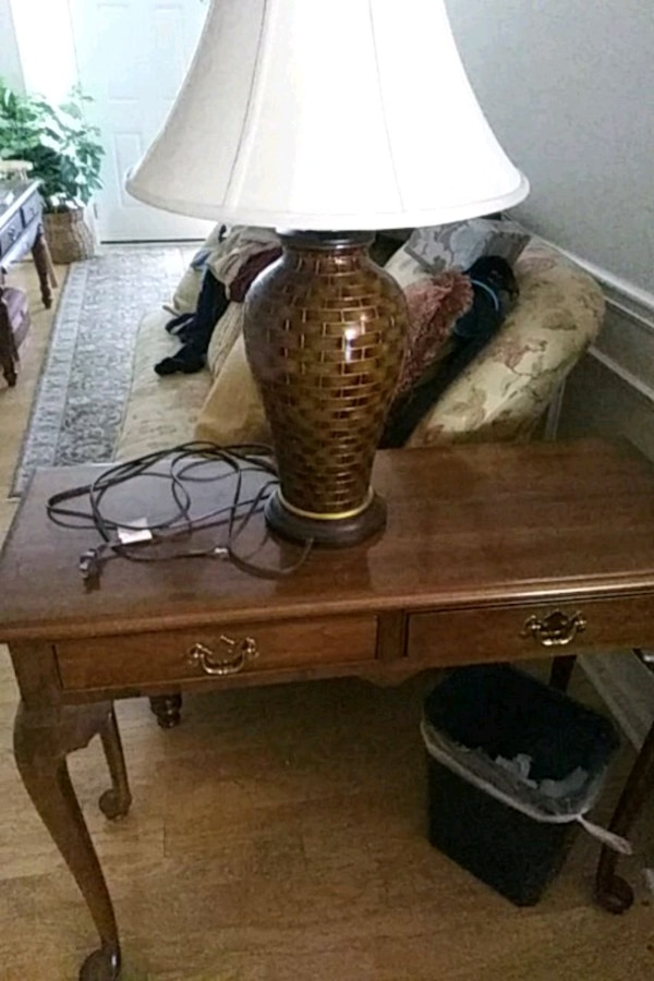 Brown Wooden Table Lamp Base With White Lampshade