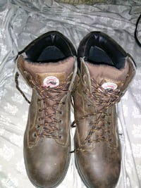 pair of brown leather combat boots Jennings, 70546