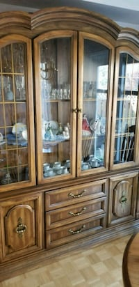 brown wooden framed glass china cabinet Vaughan, L6A 2N2