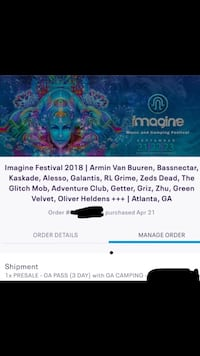 3day ticket to imagine fest with camping. $500 obo Roswell, 30075
