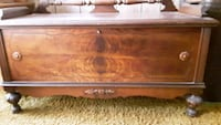 brown wooden framed glass top coffee table Baltimore, 21230