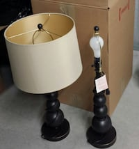 two black-and-white table lamps West Chester