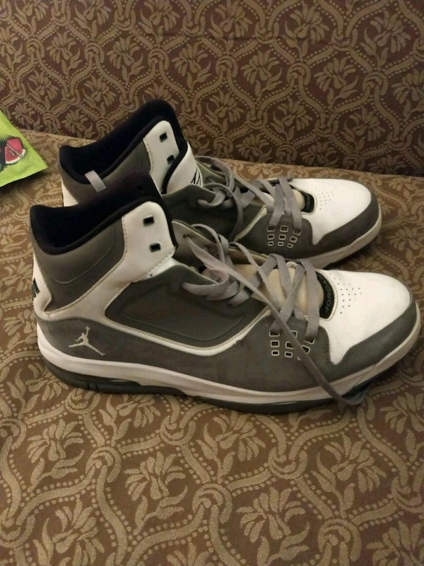 Grey and white Jordans