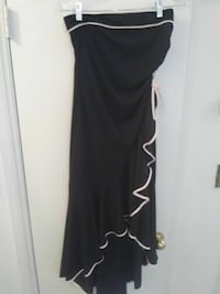 Black and light pink formal sttapless dress