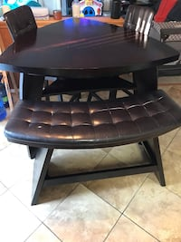 Dark Brown Pub Height Table w/ Chairs & Bench Clinton