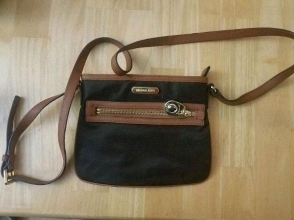 Michael Kors black and brown leather crossbody bag