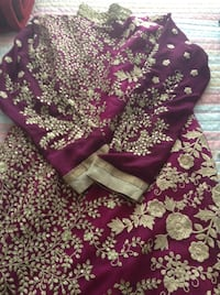 Purple and white floral textile