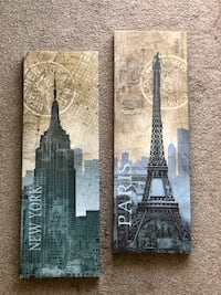 Paris and New York Map Canvas Picture Virginia Beach, 23462