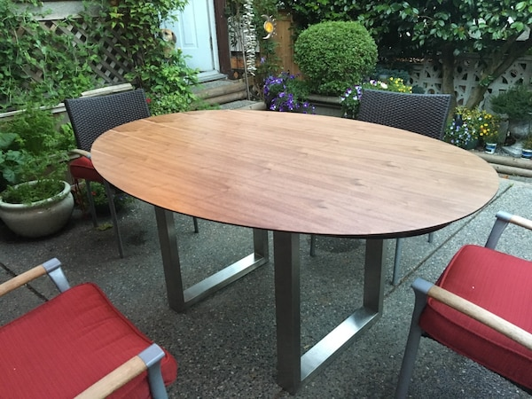 """Brand new table tops, walnut brown and black, oval 68"""""""
