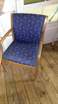 blue and brown wooden armchair