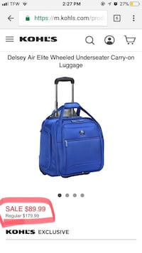 Blue desley air elite wheeled underseater carry-on luggage Fayetteville, 72701