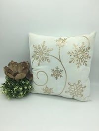 """New ! 17""""x17"""" cream cushion with gold sequins ( 2 Available)"""