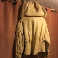 Soft pale yellow creamy leather w/ fur lined hood