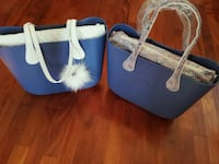 Tote bag in pelle blu e bianca 6801 km